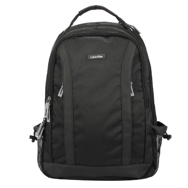 【Calvin Klein】CK機能型雙拉鍊尼龍後背包(黑色)