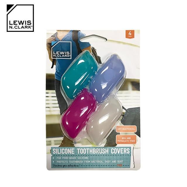 【LEWIS N CLARK】旅行抗菌牙刷套四入組 759(牙刷保護套、旅遊配件、美國品牌)