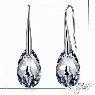 【伊飾晶漾】雨的淚滴 925純銀水晶掛式耳環