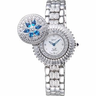 【Ogival 愛其華】花開富貴真鑽珠寶錶-珍珠貝x銀/32mm(380-55DLW)