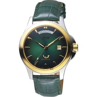 【Ogival 愛其華】尊爵時尚機械男錶-綠x金框/40mm(3353-7AMSK綠)