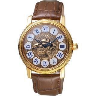 【Ogival 愛其華】好運旺旺來吉利狗年機械錶-玫塊金x咖啡色/42mm(358.351AG42R皮)