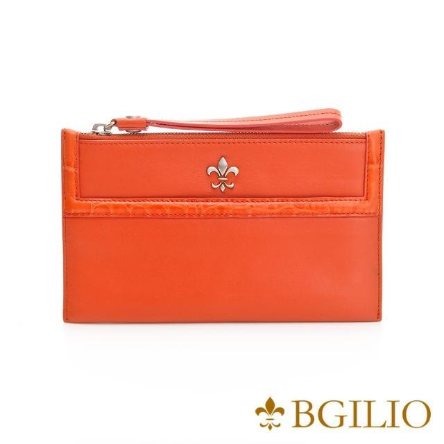 【義大利BGilio】NAPPA軟牛皮俏麗拉鍊隨身萬用夾-橘紅色(1711.301-01)