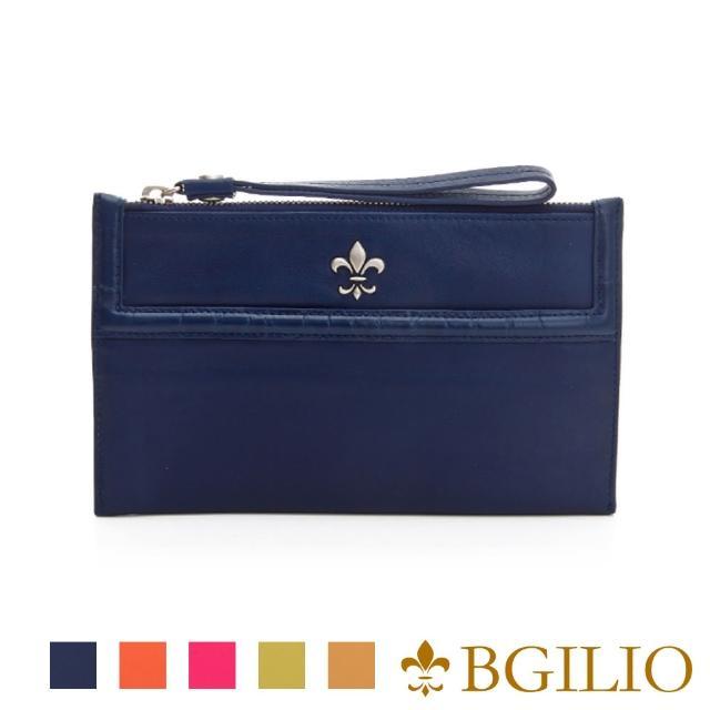 【義大利BGilio】NAPPA軟牛皮俏麗拉鍊隨身萬用夾-藍色(1711.301-09)