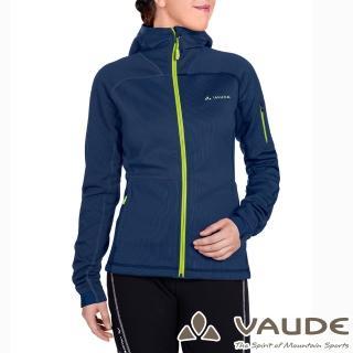 【VAUDE德國原廠】女款連帽彈性保暖刷毛外套(VA-05705深藍15A/登山/旅遊/都會/休閒)