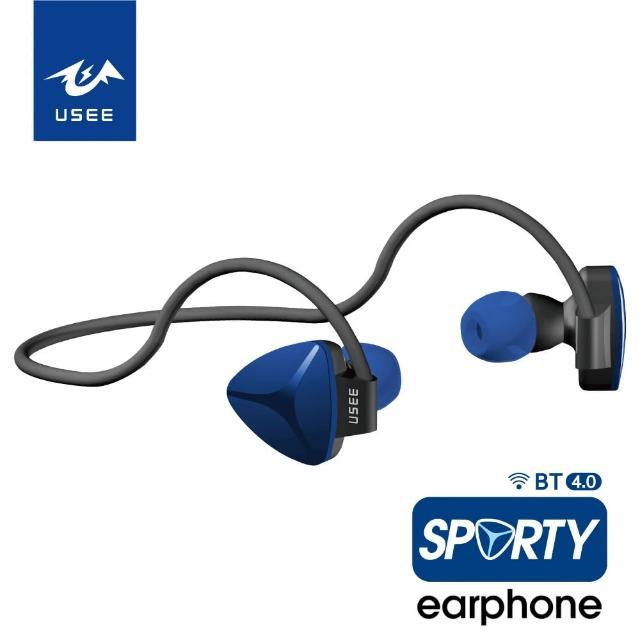 【USEE】後掛式超輕量防汗線控運動藍牙4.0耳機/二色(UES 03B-7)