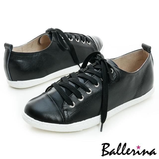 【Ballerina】台灣製全真牛皮綁帶休閒鞋(黑)
