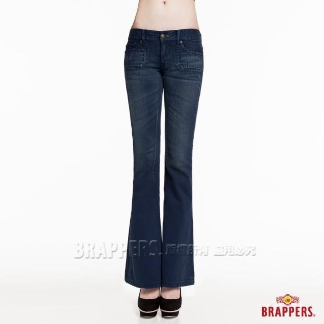 【BRAPPERS】女款 新美腳Royal系列-立體刷色小喇叭褲(深藍)