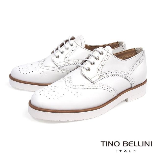 【TINO BELLINI 貝里尼】義大利進口中性白底綁帶牛津鞋B73201(白)