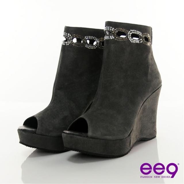 【ee9】ee9 神秘华丽~高贵钻饰楔型鱼口后拉鍊个性短靴~迷魅灰(短筒靴)