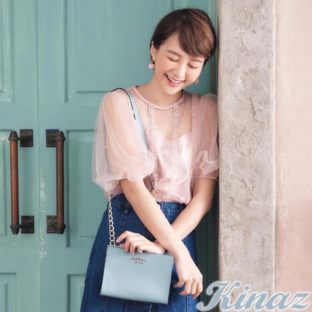 【KINAZ】玫瑰花園鏈帶斜背包-愛麗絲藍-浪漫舞曲系列