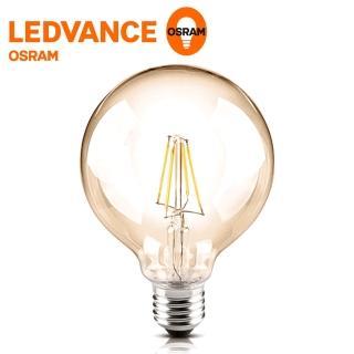 【Osram 歐司朗】1906復古型紐倫堡吊掛式 可調光 6.5W LED圓形燈絲燈泡(黃光2入)