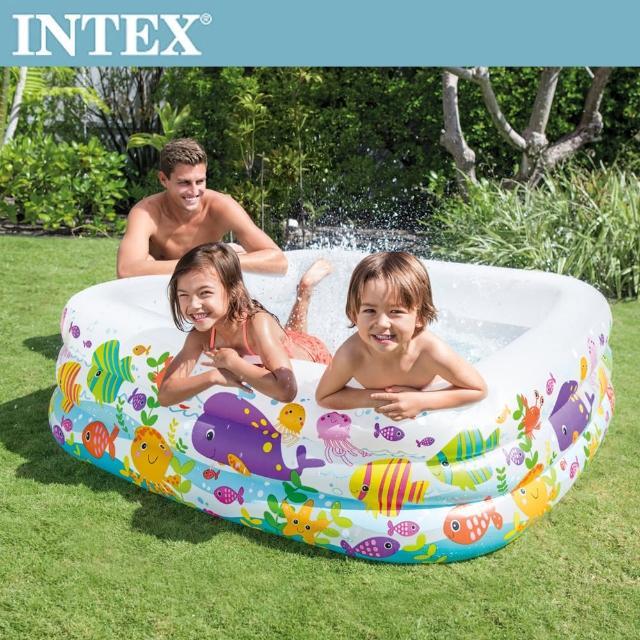 【INTEX】海底動物方型戲水游泳池159x159x50cm -340L 3歲+(57471N)