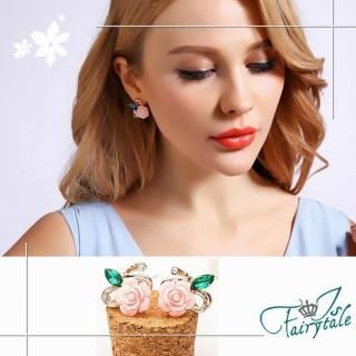 【伊飾童話】任選-薔薇風貌 藍水晶樹脂耳環 2色可選