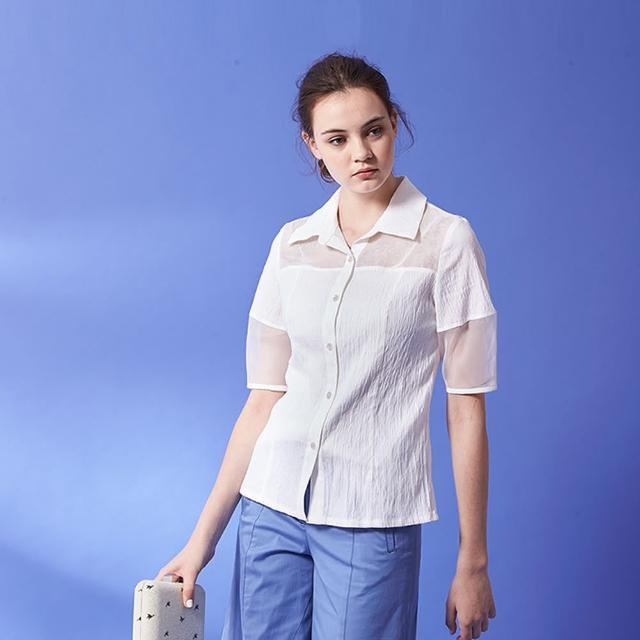 【ICHE 衣哲】設計款拼接透視紡紗五分袖造型襯衫上衣-白