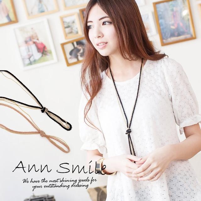 【微笑安安】韓製典雅雙色繩結長項鍊(共2色)