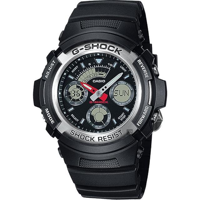 【CASIO 卡西歐】G-SHOCK 摩托車雙顯手錶-銀(AW-590-1A)