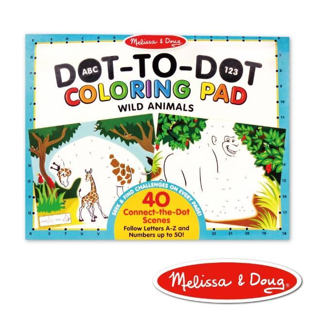 【Melissa & Doug 瑪莉莎】大型兒童繪本 - ABC 123 點點著色本 - 野生動物