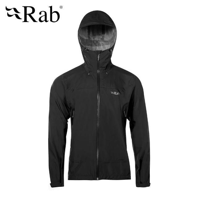 【英國 RAB】Downpour Plus Jacket 高透氣連帽防水外套 男款 黑色 #QWF67(高透氣連帽防水外套)