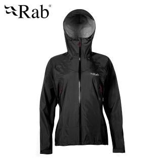 【英國 RAB】Downpour Plus Jacket 高透氣連帽防水外套 女款 黑色 #QWF68(高透氣連帽防水外套)