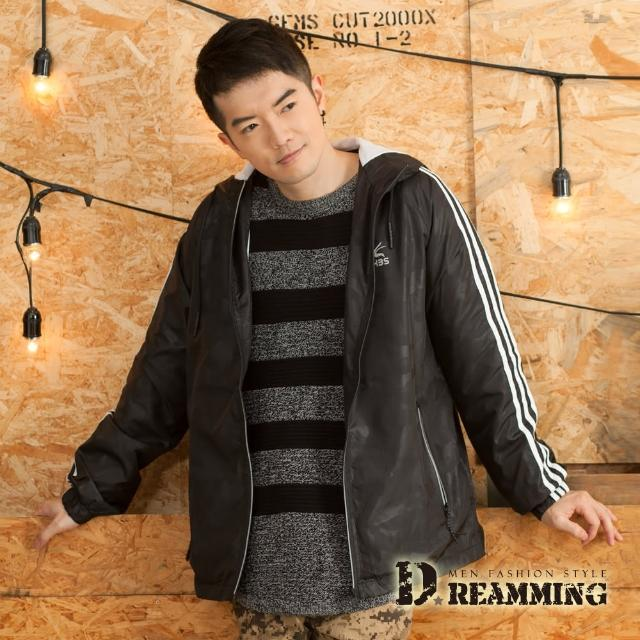 【Dreamming】戶外輕量透氣網布休閒連帽運動風衣外套(黑色)