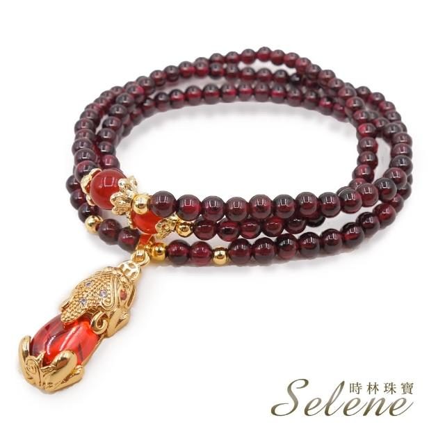 【Selene】紅石榴石財到貔貅三圈手鍊(可當項鍊穿戴)