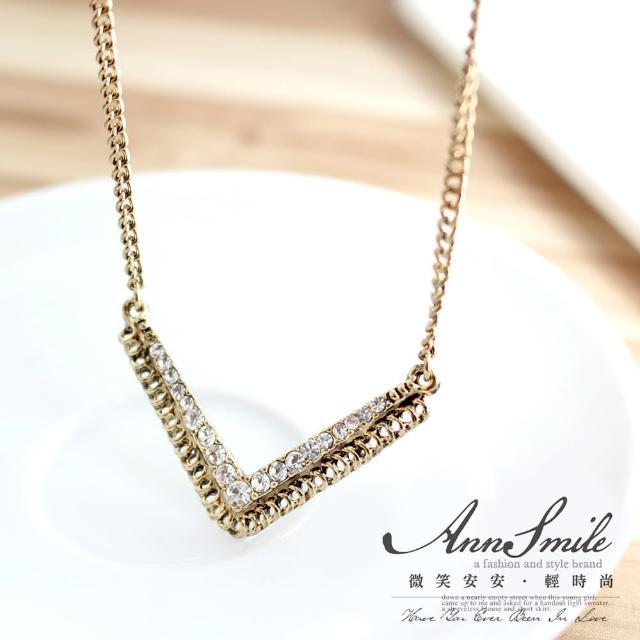 【微笑安安】韓製V字亮鑽復古色系項鍊(共2色)