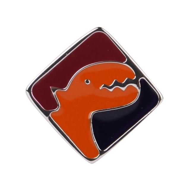 【agnes b.】方塊恐龍穿式耳環/單隻(橘紅黑)