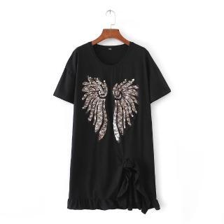 【茱莉歐美#JILLSTREET】亮片翅膀長版短袖T恤-L(黑/白)