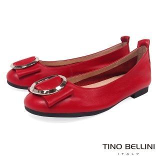 【TINO BELLINI 貝里尼】雅緻環飾真皮平底娃娃鞋B83261(紅)