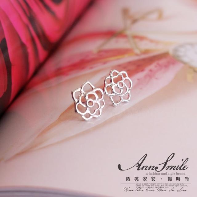 【微笑安安】鏤空薔薇925純銀針式耳環