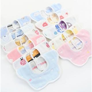 【JoyNa】嬰幼兒純棉花瓣圍兜雙面用(五入組)