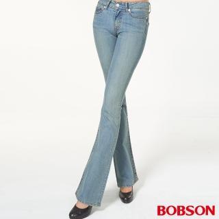 【BOBSON】女款低腰伸縮中喇叭褲(復古藍944-75)