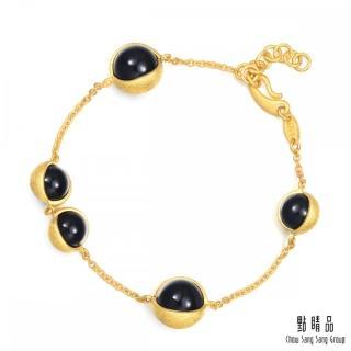 【點睛品】g* 系列 圓珠黑玉髓黃金手鍊