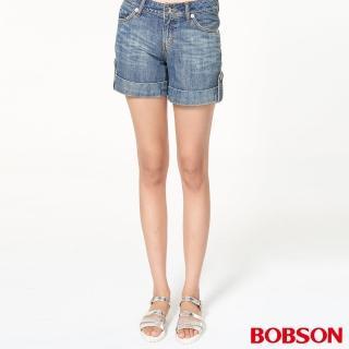 【BOBSON】女款反摺褲口蝴蝶刺繡短褲(藍137-58)