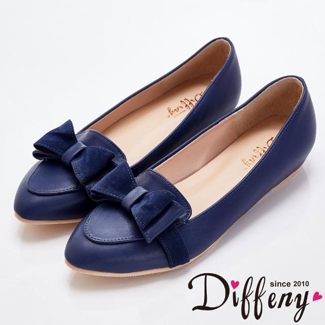 【Diffeny】高雅傾心 甜美蝴蝶結內增高樂福鞋(藍)
