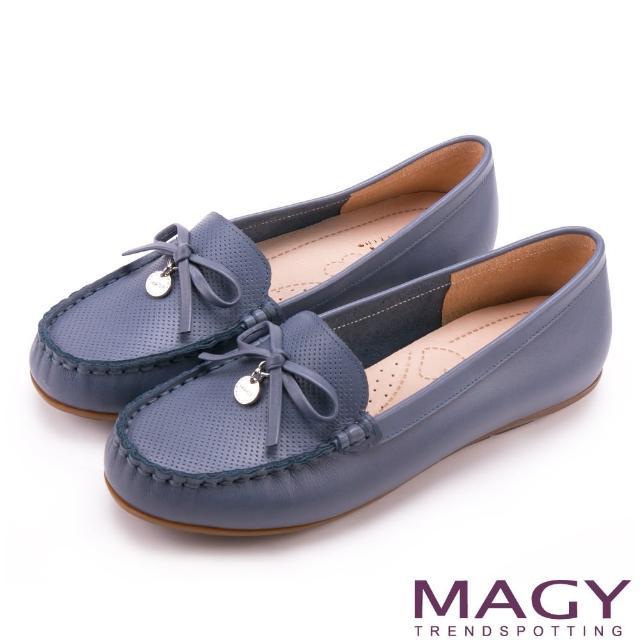 【MAGY】玩轉復刻新意呈現 蝴蝶結洞洞牛皮莫卡辛(藍色)