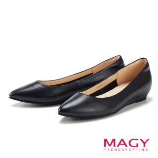 【MAGY】清新氣質款 親膚舒適尖頭平底鞋(黑色)