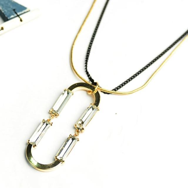 【Lady c.c.】正負方晶純粹金吻造型項鍊
