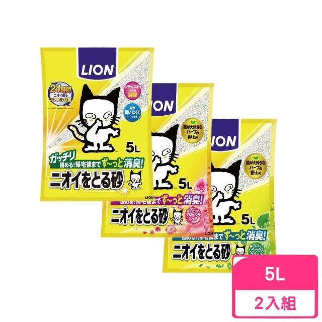 【LION 獅王】多酚除臭貓砂《無香味/花木香/木質綠香》5L(3包組)
