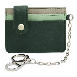 【Continuita 康緹尼】頭層牛皮日本多層次鑰匙圈卡片包(綠色)
