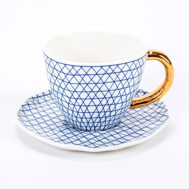 【HOLA】HOLA 荷莉彩繪杯碟組 藍