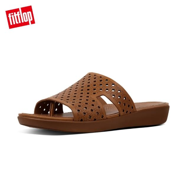 【FitFlop】H-BAR TM SLIDE SANDALS - LATTICED LEATHER(焦糖色)