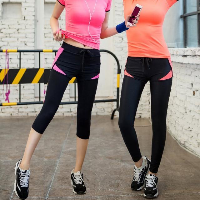 【KISSDIAMOND】韓系超彈假兩件修身顯瘦速乾運動瑜珈褲(防走光/運動/跑步/路跑/雕塑/9分/7分S-XL可選)