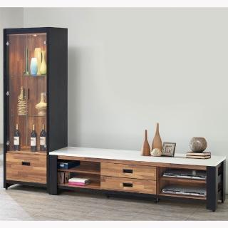 【H&D】雙色積層木8尺L型櫃(積層木 8尺 L型 電視櫃)