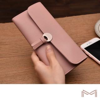 【MI】韓版簡約時尚多卡位磁扣式三折軟皮長夾錢包(六色可選)