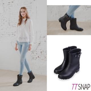 【TTSNAP】雨靴-簡約俐落舒適霧面皮革中筒防水靴(黑)
