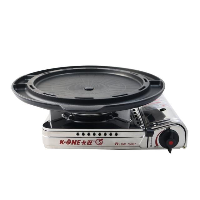【卡旺】不鏽鋼攜帶式卡式爐+韓式多功能烤盤(K1-1788S+ST-1600P)