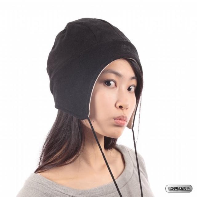 【SNOW TRAVEL】PORELLE防水透氣雙面拉繩帽(黑色)