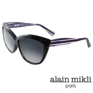 【alain mikli 法式巴黎】捌零復古藝術媚感貓眼造型太陽眼鏡(紫 AL1323-2878)